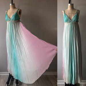 Vintage 1980's Pastel Colors Chiffon Long Dress